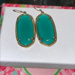 Kendra Scott teal blue and gold earrings